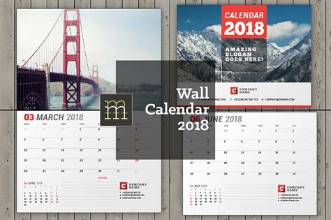 calendar indesign template wall calendar for 2018 year fully editable layered
