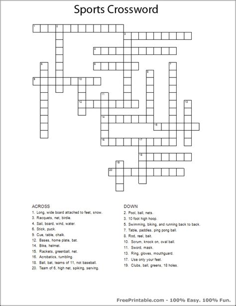 printable easy sports crossword puzzles printable sports crossword puzzles related keywords