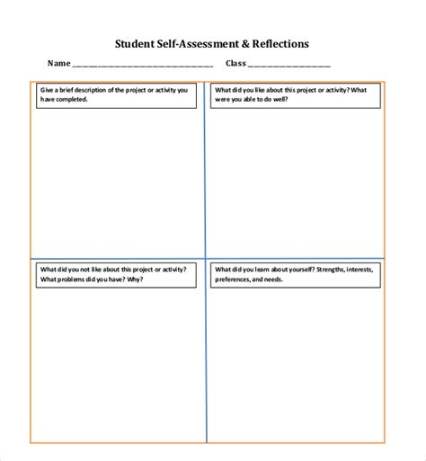 student self assessment 10 sle self assessment forms sle forms