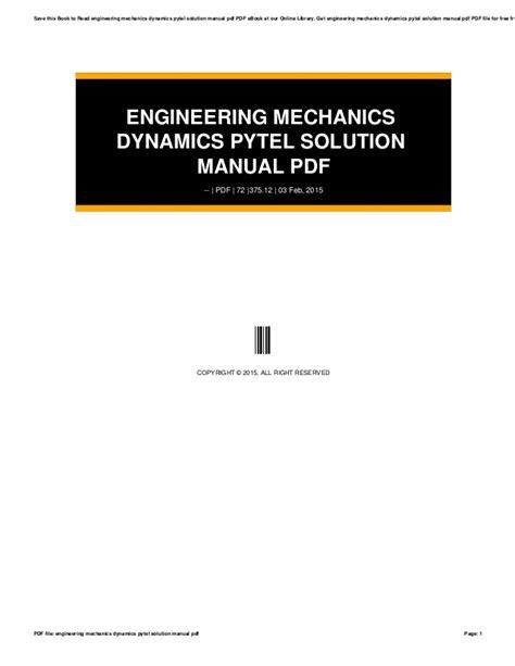 engineering mechanics dynamics pytel solution manual