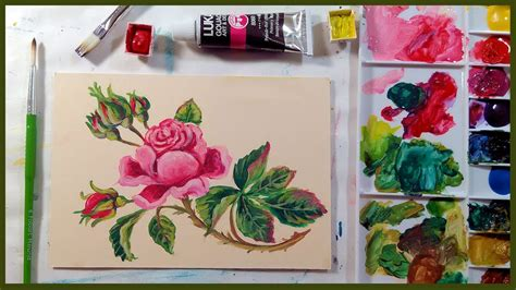 watercolor gouache tutorial vintage rose in gouache beginner tutorial youtube