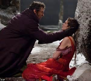 Hit hugh jackman as jean valjean left and anne hathaway as fantine