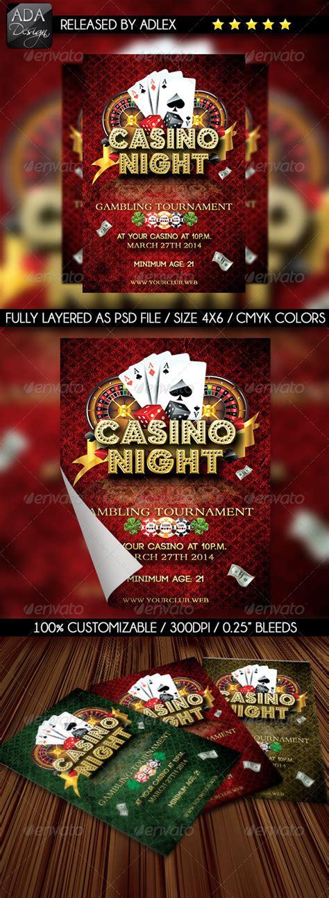 Casino Night Flyer By Adlex Graphicriver Casino Fundraiser Flyer Template
