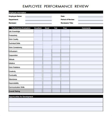 8 Performance Evaluation Sles Templates Exles Sle Templates Performance Review Template Word