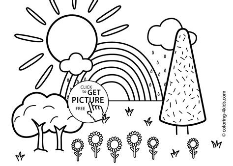 printable coloring pages nature nature coloring page for with rainbow printable free