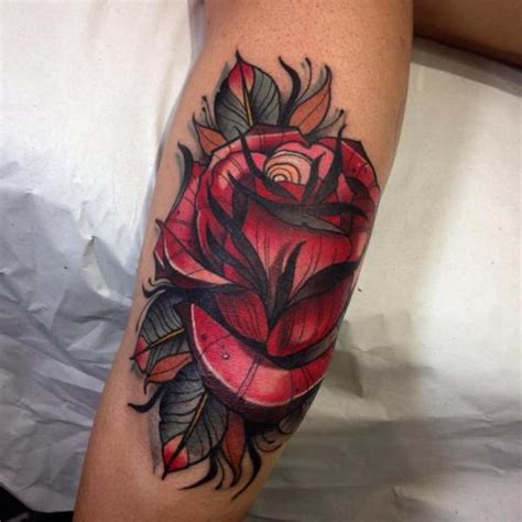 new school rose tattoo arm new school flower by blessed