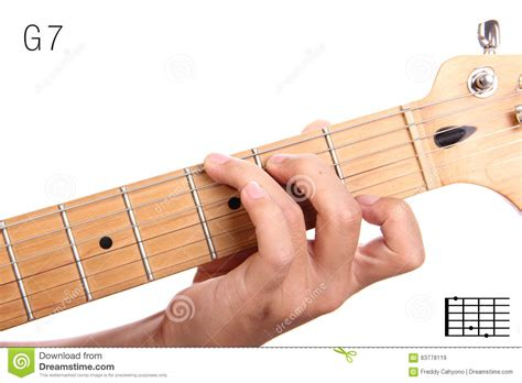 tutorial guitar up g dominant seventh guitar chord tutorial stock photo