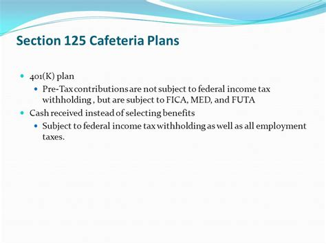 section 125 cafeteria health accident and retirement benefits ppt download