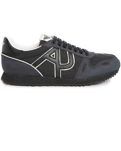 armani sneakers mens armani black aj logo sneakers in black for lyst