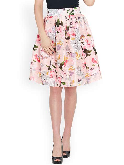 buy sassafras pink floral print silk a line skirt skirts