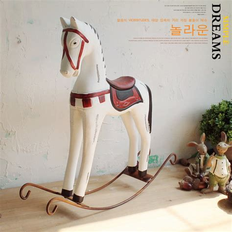 horse decoration for home american country retro wood craft rocking horse decoration