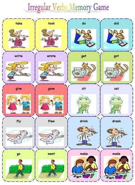 printable games for verb tenses irregular verbs memory game part 1 by anastasia