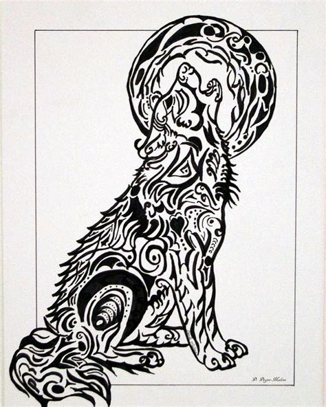 tribal wolf drawing by darla malone