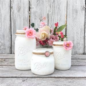 shabby chic white mason jar collection painted mason jars