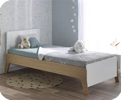 lit en bois de lit enfant aloa blanc et bois 90x190 cm