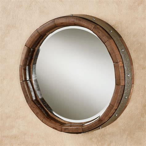 Single Wine Bottle Holder by Recycled Wine Barrel Stave Round Wall Mirror