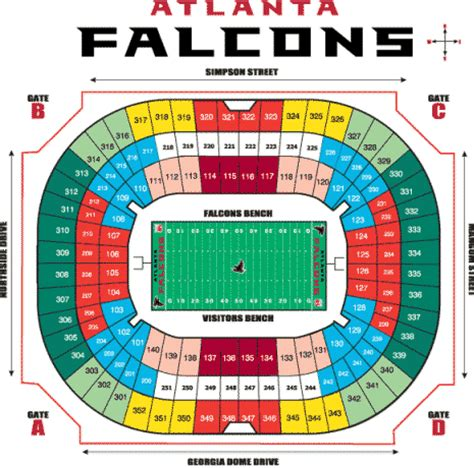 atlanta falcons seating chart prices nfl football stadiums atlanta falcons stadium dome