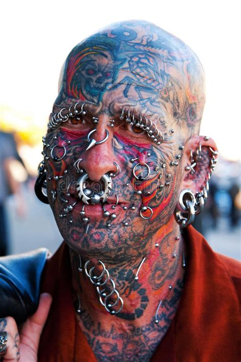 extreme tattoo piercing prices face with tattoos and piercings editorial stock photo