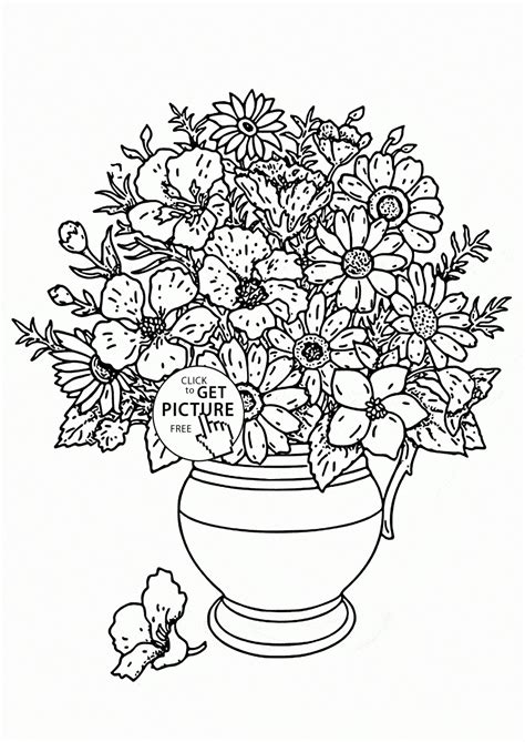 coloring pages of vase with flowers flower vase drawing for great drawing