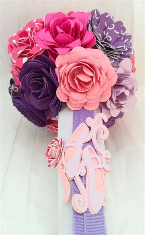 Bling Balet recital paper flower bouquet ballet pink purple