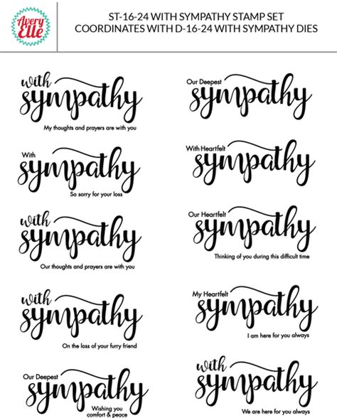 rubber st sentiments avery with sympathy clear st set hallmark