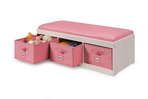 kids bench cushion badger basket storage bench with top cushion 3 bins by oj commerce 90900 103 99