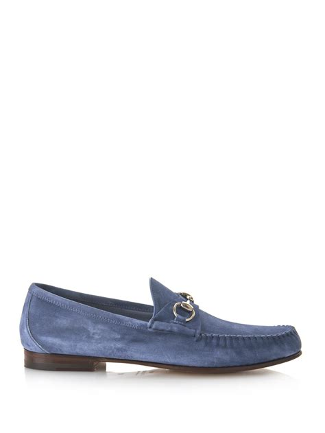 gucci blue suede loafers lyst gucci roos suede loafers in blue for