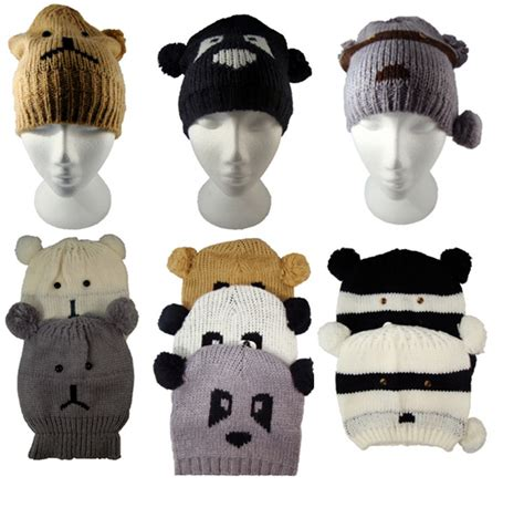 animal hats teddy panda raccoon womens knitted