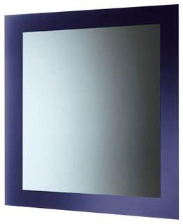 blue mirror  lacquered frame contemporary bathroom