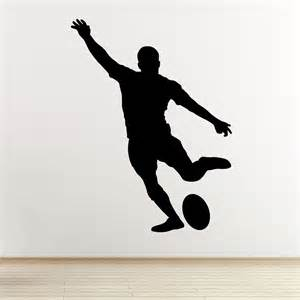 rugby player wall art sticker kicking player outline