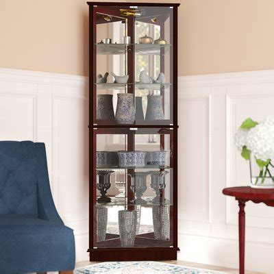 lighted corner curio cabinet cherry randalstown lighted corner curio cabinet color cherry