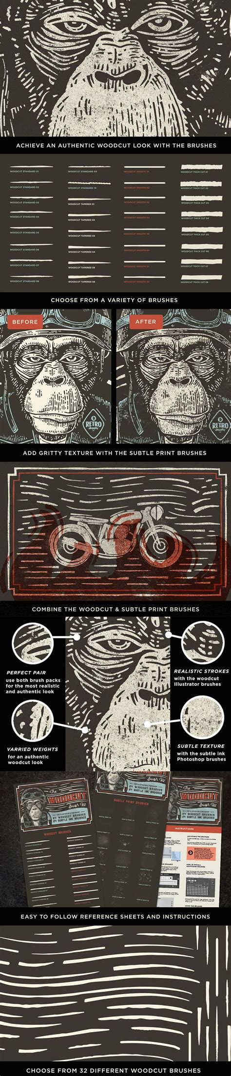adobe illustrator cs6 quick guide the woodcut brush kit a collection of woodcut brushes for