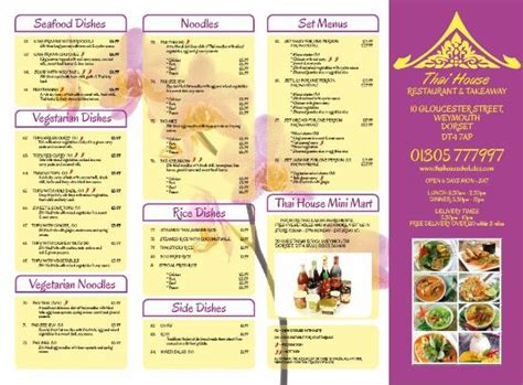 house of thai menu menu picture of thai house weymouth tripadvisor
