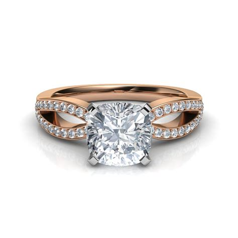 split shank micropav 233 cushion cut engagement ring