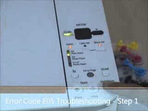reset printer mp258 error e05 printer error code e05 canon mp258 step1 youtube