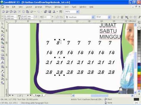 tutorial desain kalender coreldraw tutorial corel draw cara membuat kalender 3 youtube