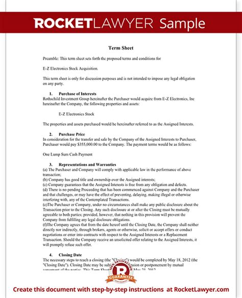 Term Sheet Template Free Term Sheet With Sle Term Sheet Template