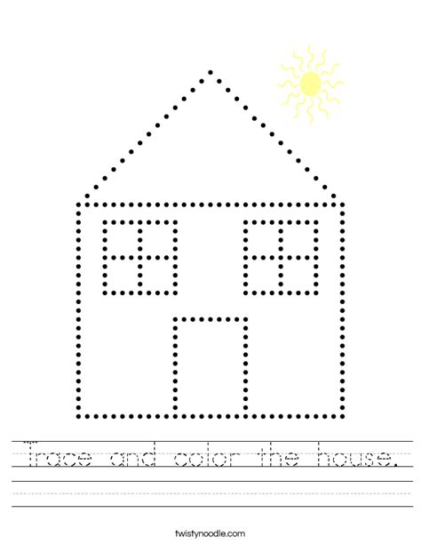 the color house trace and color the house worksheet twisty noodle