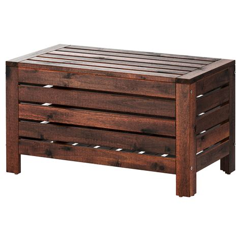 outdoor wood bench with storage 196 pplar 214 storage bench outdoor brown stained 80x41 cm ikea