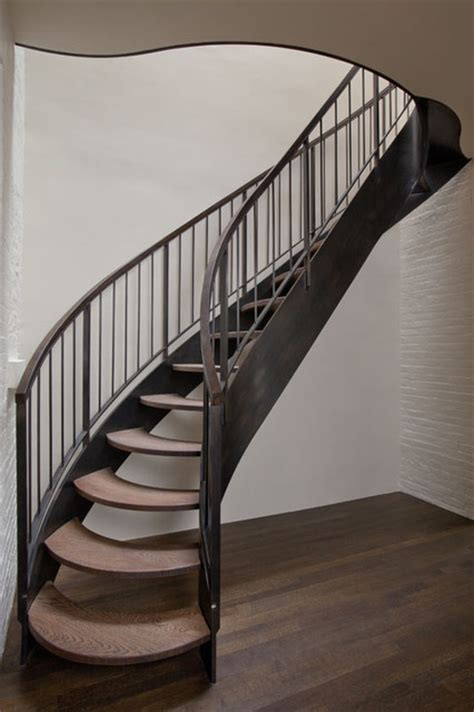 New Stairs Design Curving Steel Stair Transitional Staircase New York By Neuhaus Design Architecture P C