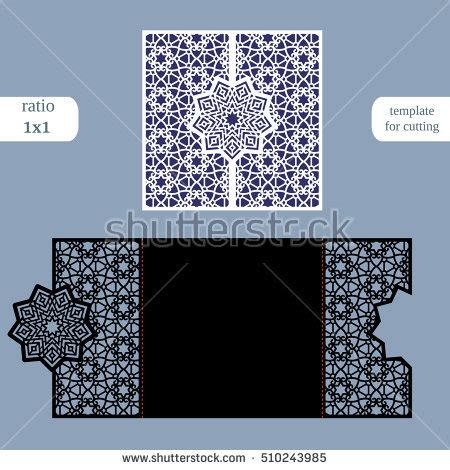 square greeting card template laser cut wedding invitation card template stock vector