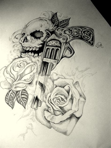 skull rose and gun tattoos gun skull gun n roses design tattoos