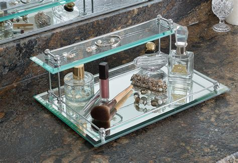 two tier bevel glass valet tray sharper image