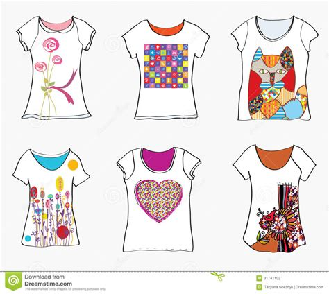 design t shirt pattern t shirts design templates with funny paintings stock