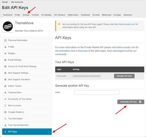 themeforest secret api key thememove documentation