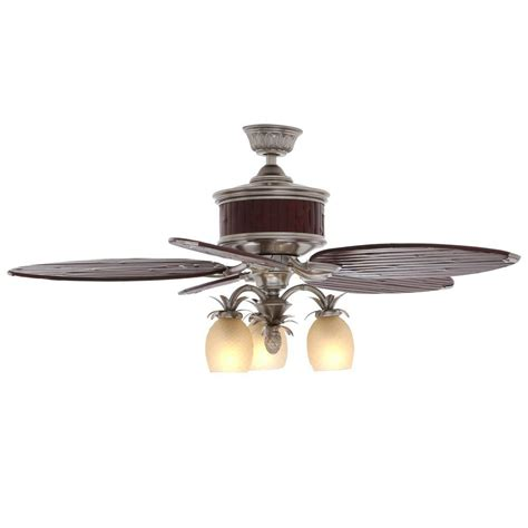 bamboo ceiling fans with lights hton bay colonial bamboo 52 in pewter ceiling fan