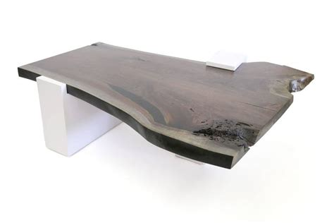 sentient live edge coffee table white laminate base for