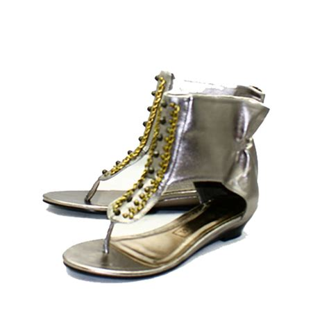 beaded ankle sandals pewter beaded sandals with ankle cuff ebay