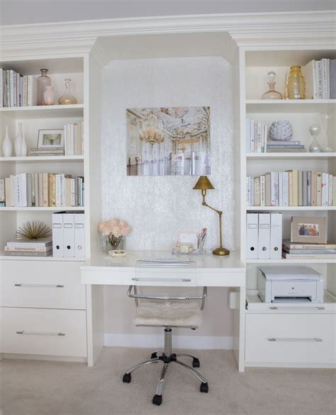 Desk Shelving Ideas Home Decorating Ideas Home Office In Chic Glam Style Built In Desk And Shelving Lucite Desk