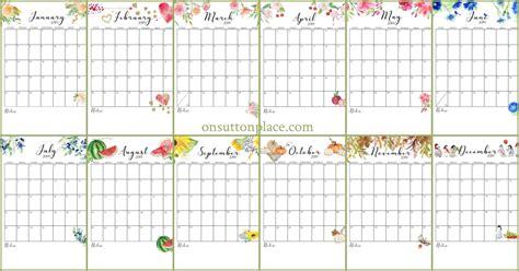 printable calendar  monthly calendar  sutton place